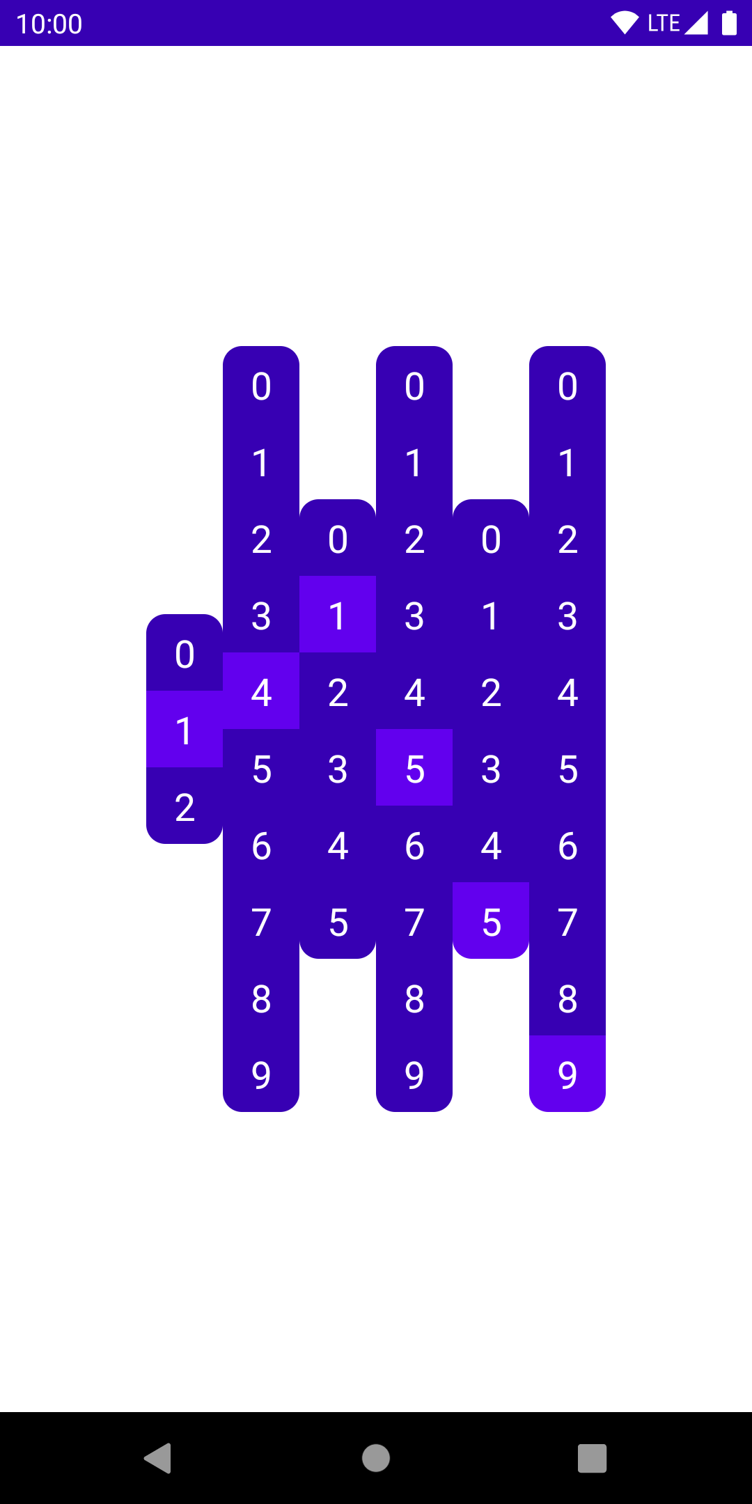 Multiple columns of digits, showing the current time