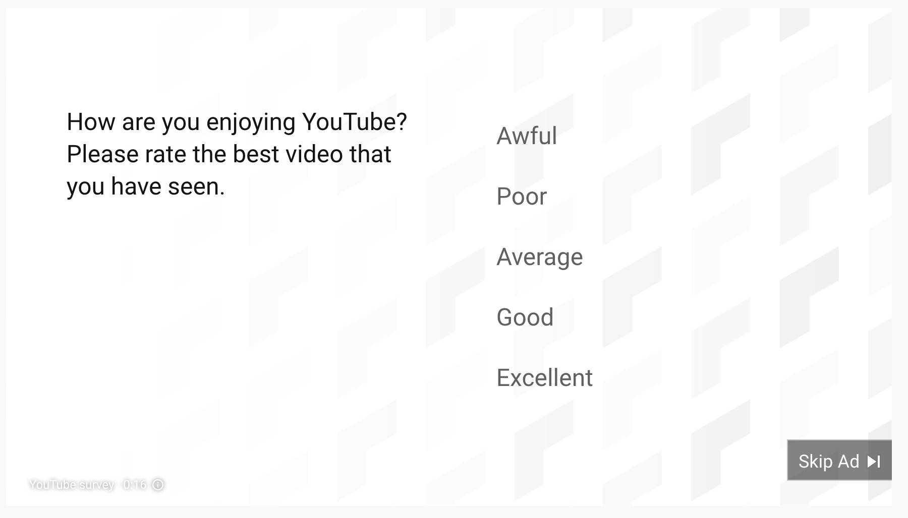 Product feedback example from YouTube