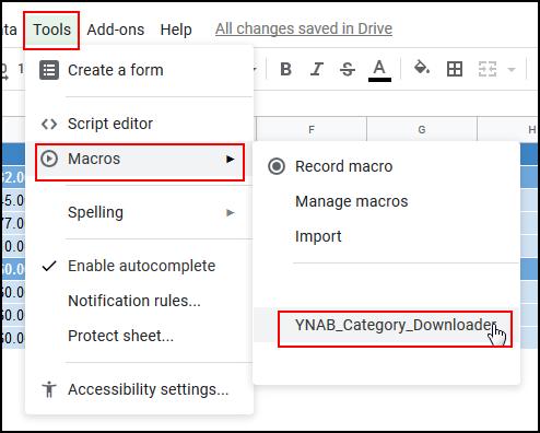 Select Tools, Macros, YNAB_Category_Downloader