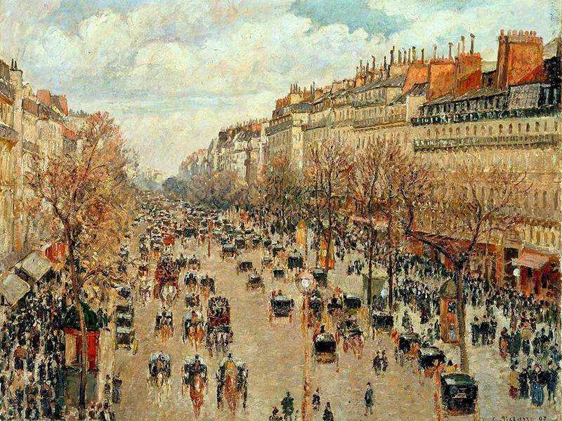 'Le Boulevard de Montmartre, Matinée de Printemps' by Camille Pissarroo (1897).  Pissarro continued to paint rural themes but they also readily showed enthusiasm for modernity.
