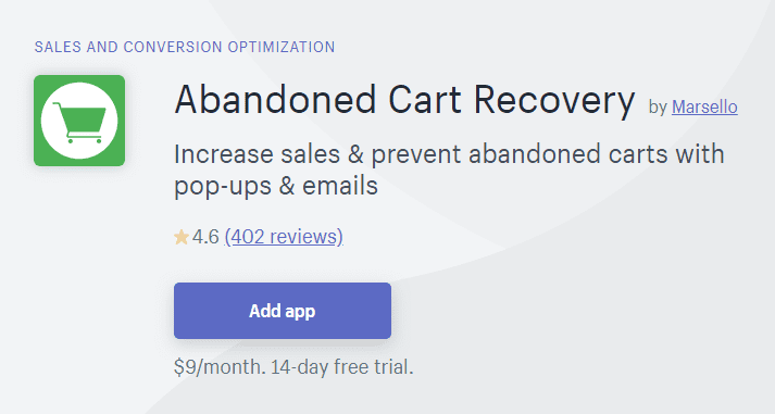 Abandoned Cart Recovery by Marsello