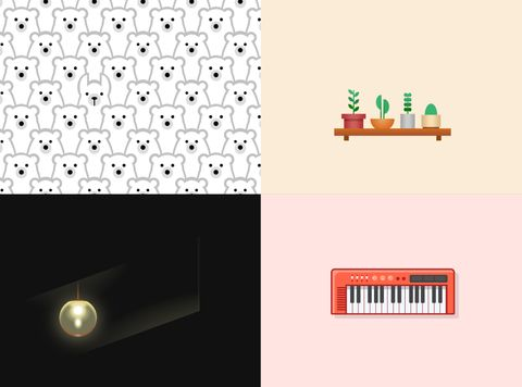 Examples of Lynn Fisher's single-div projects: repeated polar bears, plants on a shelf, a blinking light, and a tiny electronic piano.