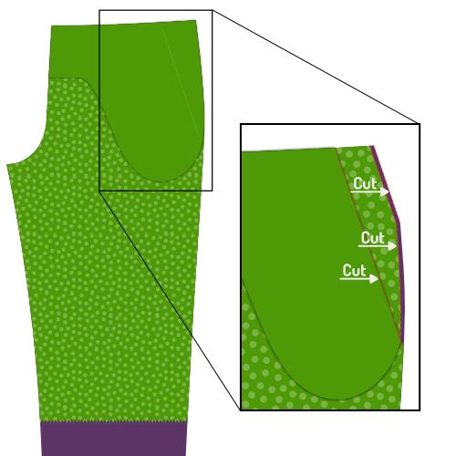 Trim pieces for front pocket slant