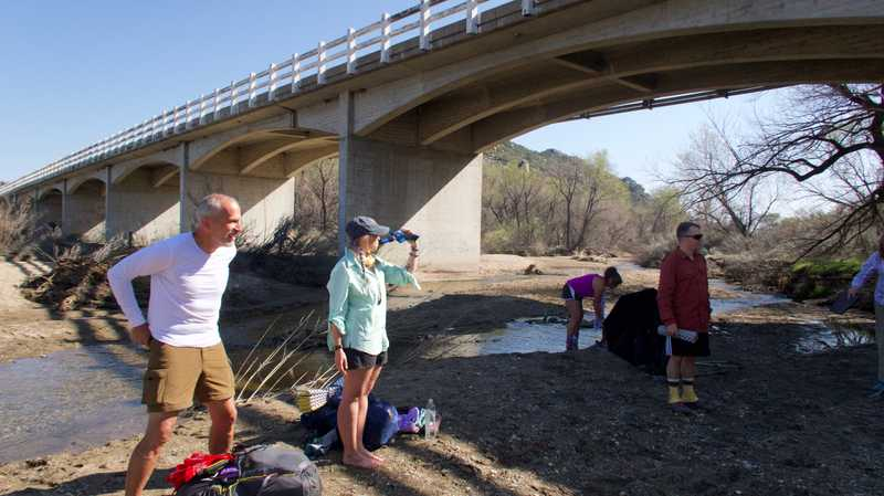 Filtering water at Cottonwood Creek
