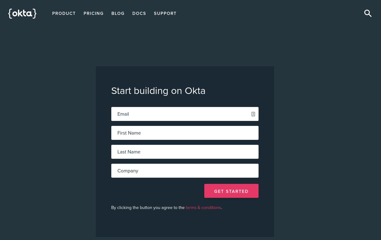 Okta's sign up page.