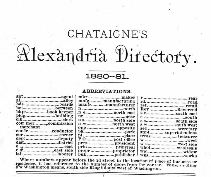 Image of the cover of the 1880-1881 Alexandria City Directory