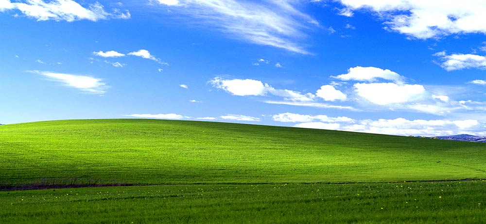 Windows XP bliss wallpaper.