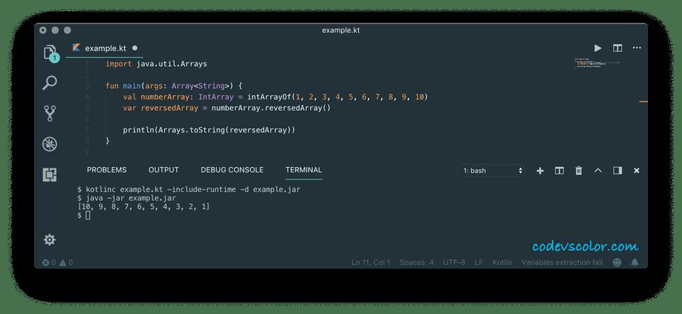 kotlin reverse an array