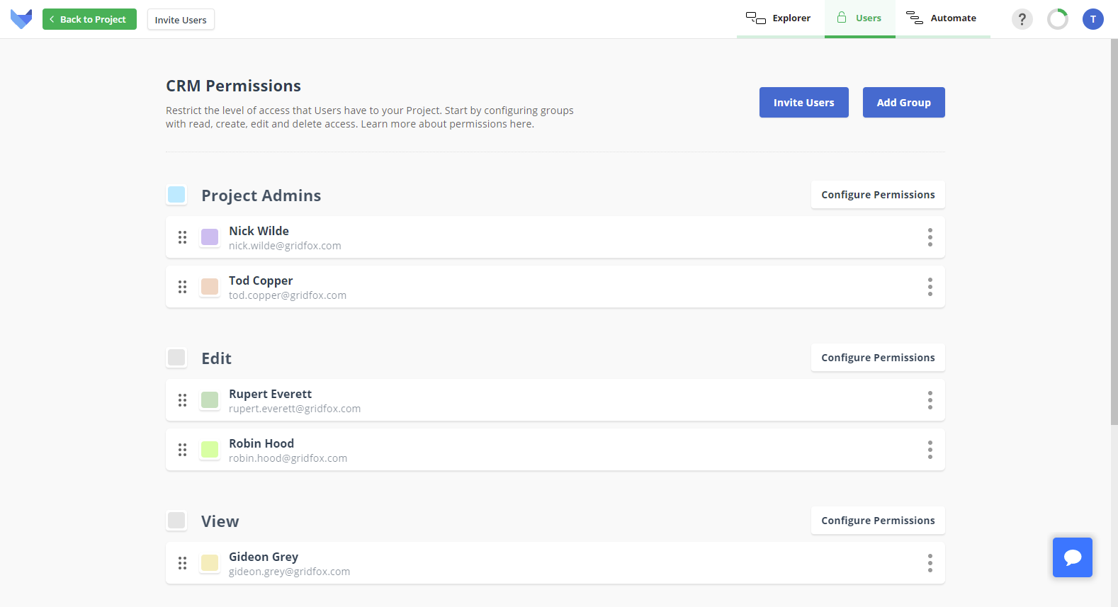 The users page with some invited users in various groups