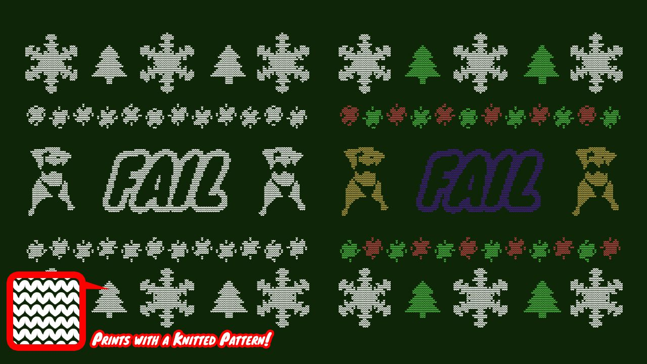 example of both the all white and colored version of the Ugly Sweater design