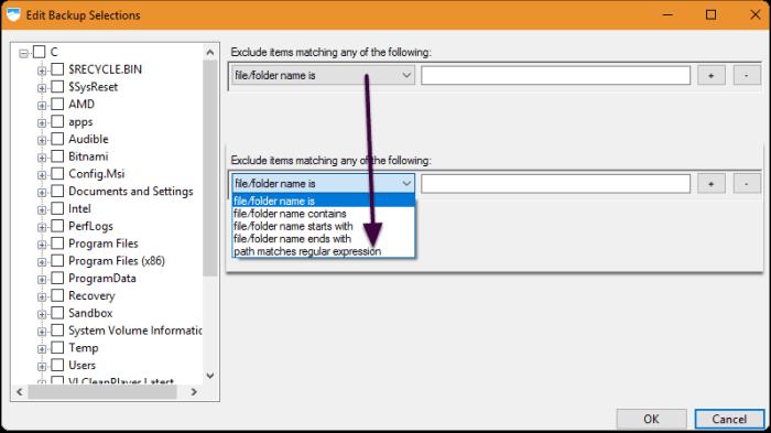 Filtering Backup Selection