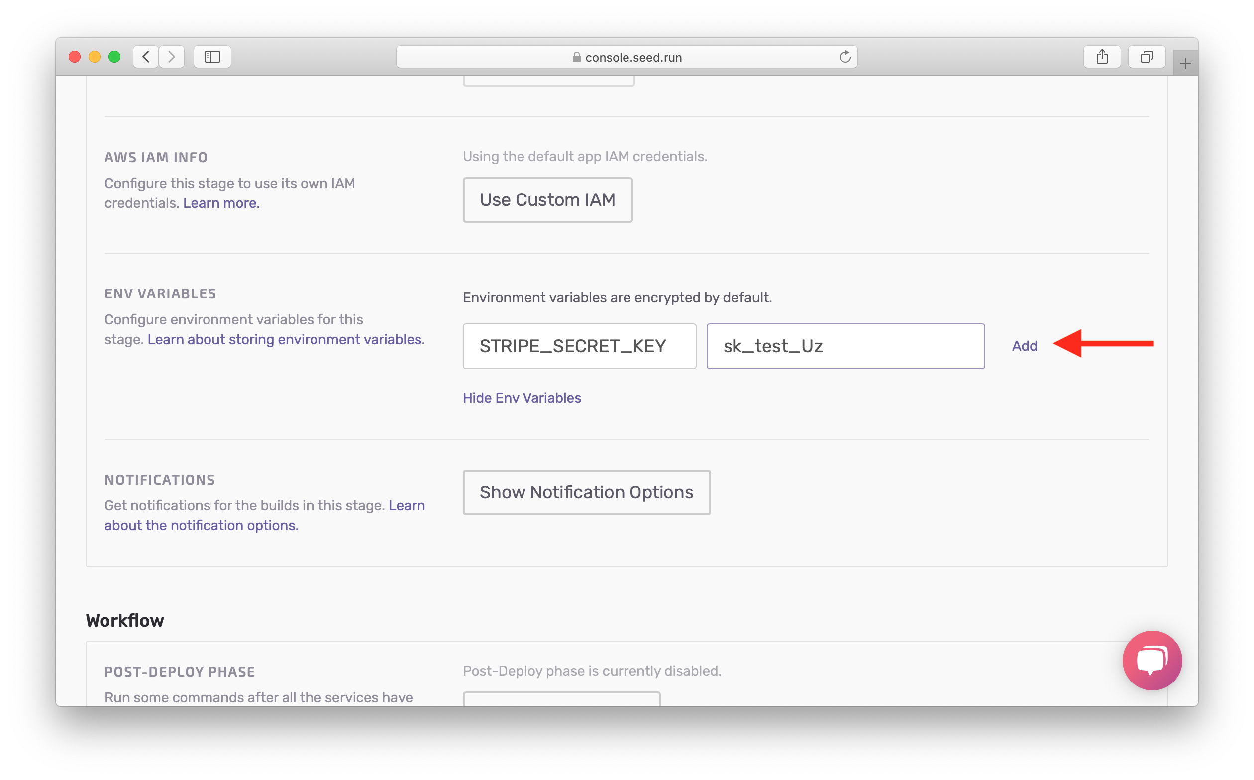 Add secret dev environment variable screenshot