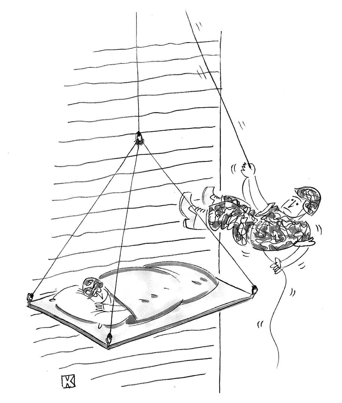 (Soldier is rappelling down an obstacle wall and finds another soldier sleeping in a climber's tent.)