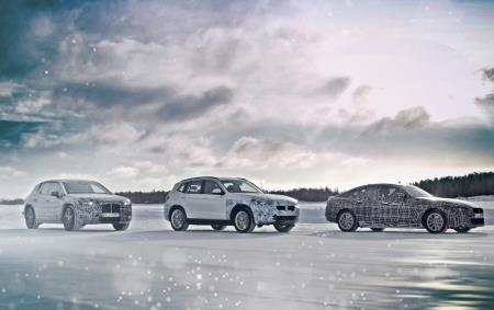 Pictures of the BMW iX3, BMW i4 and BMW iNext SUV being tested in Arctic Circle conditions.