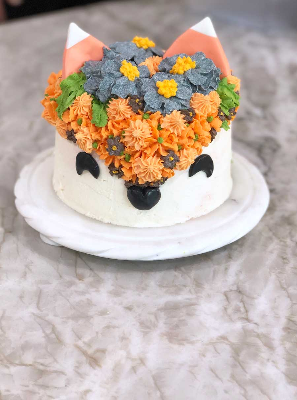Vegan chocolate orange fox cake