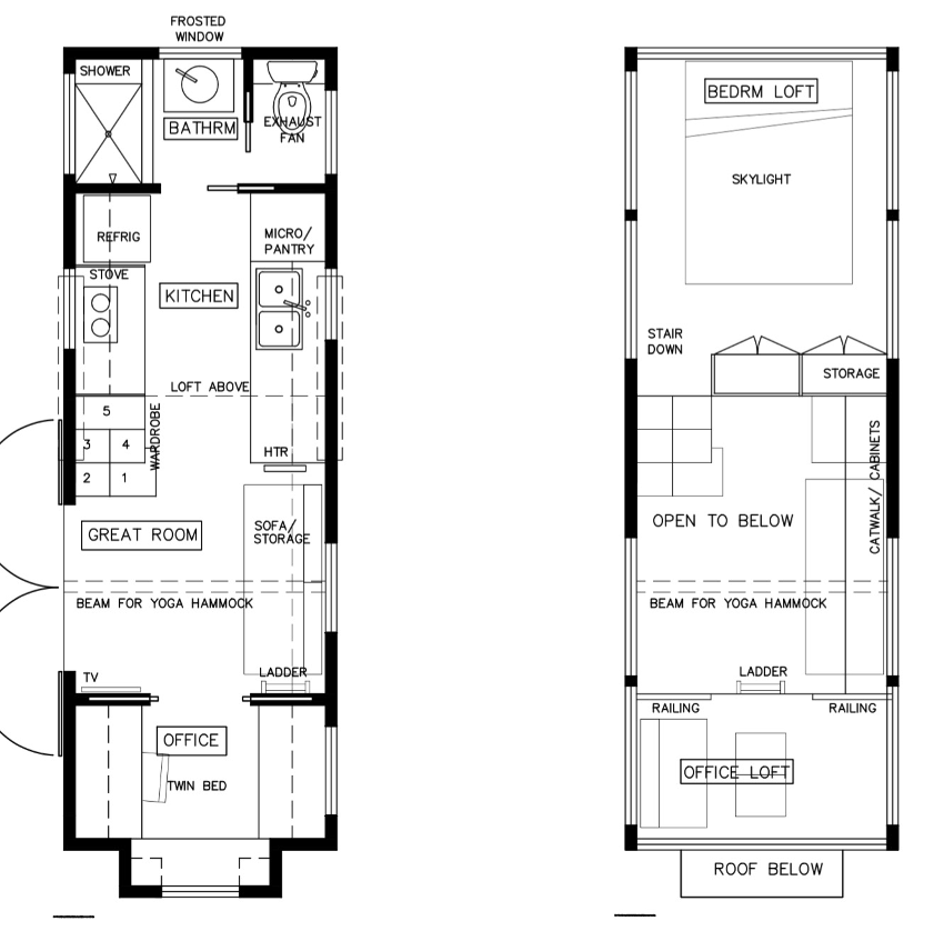Tiny House Plans' Light Haus design with a queen size bed upstairs and an office/twin-bed room downstairs.