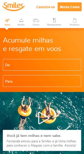 Imagem do layout conceito mobile para página inicial do site da Smiles