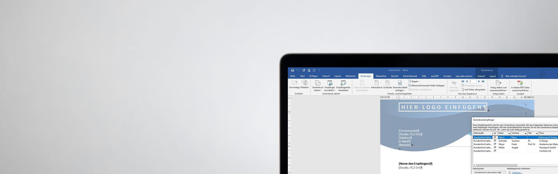 Laptop mit Word auf Schriebtisch