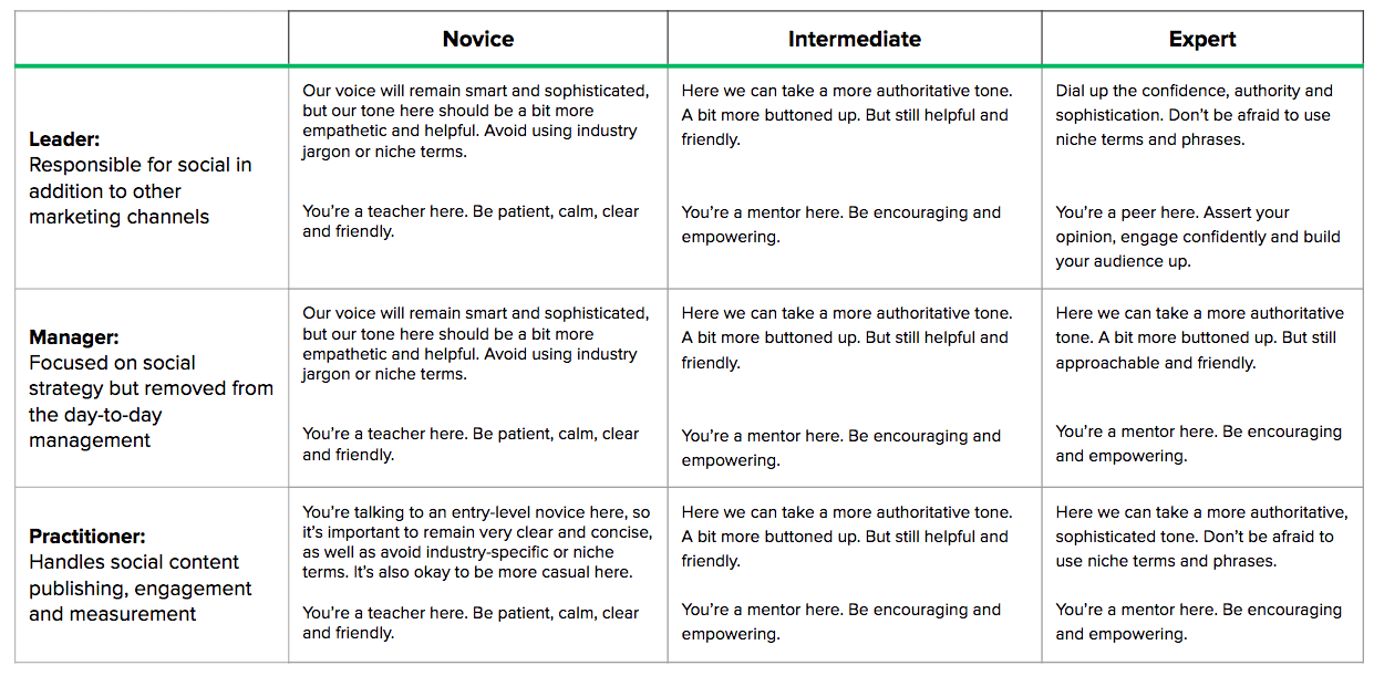 Table containing different audience members and levels