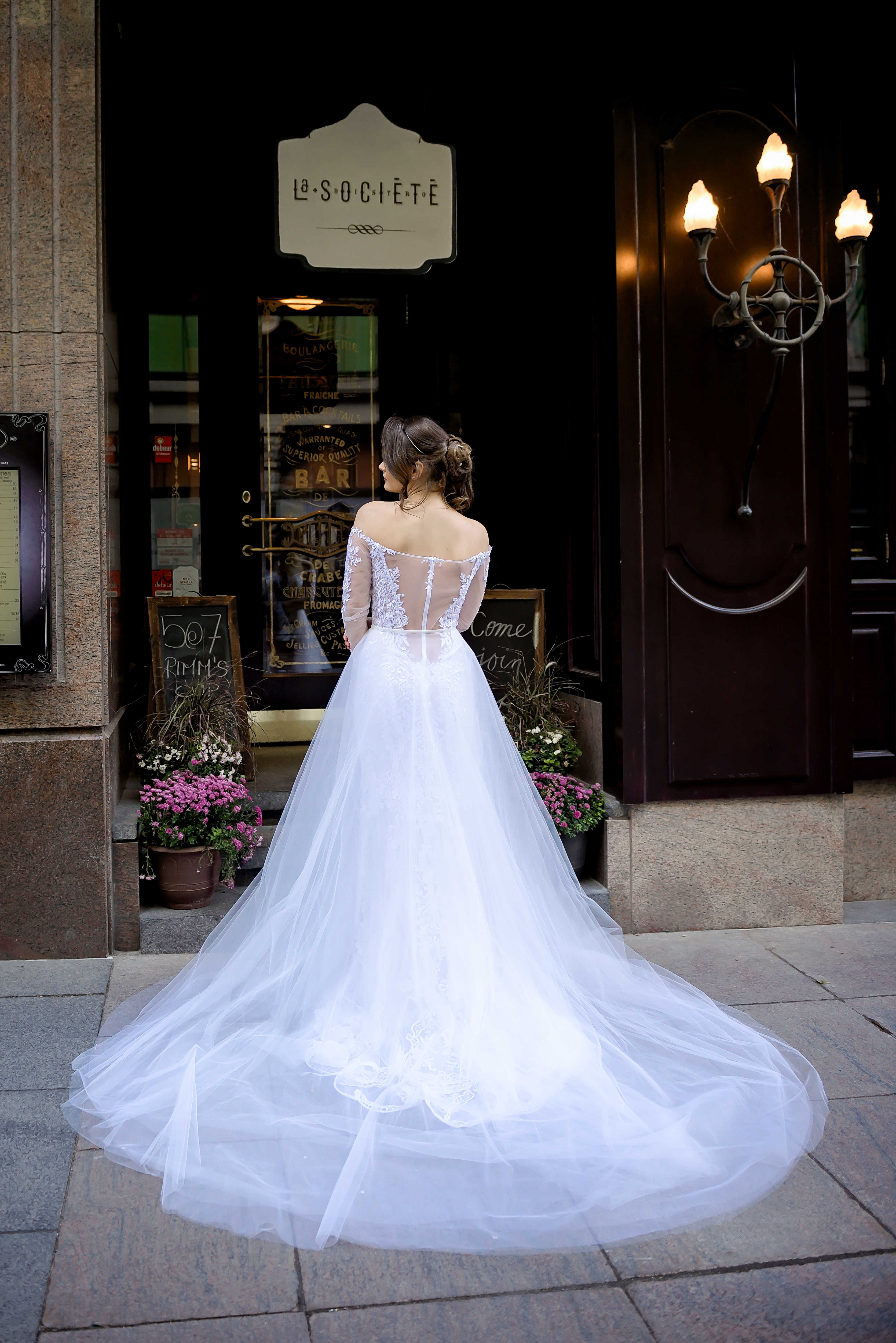 tulle overskirt and open back lace wedding dress designer dresses montreal