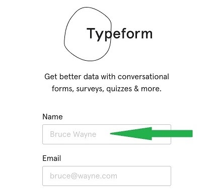 Typeform uses surprise/humor in example copy for a form