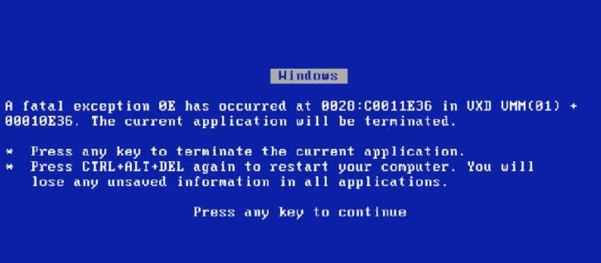 An old error message from a Windows computer