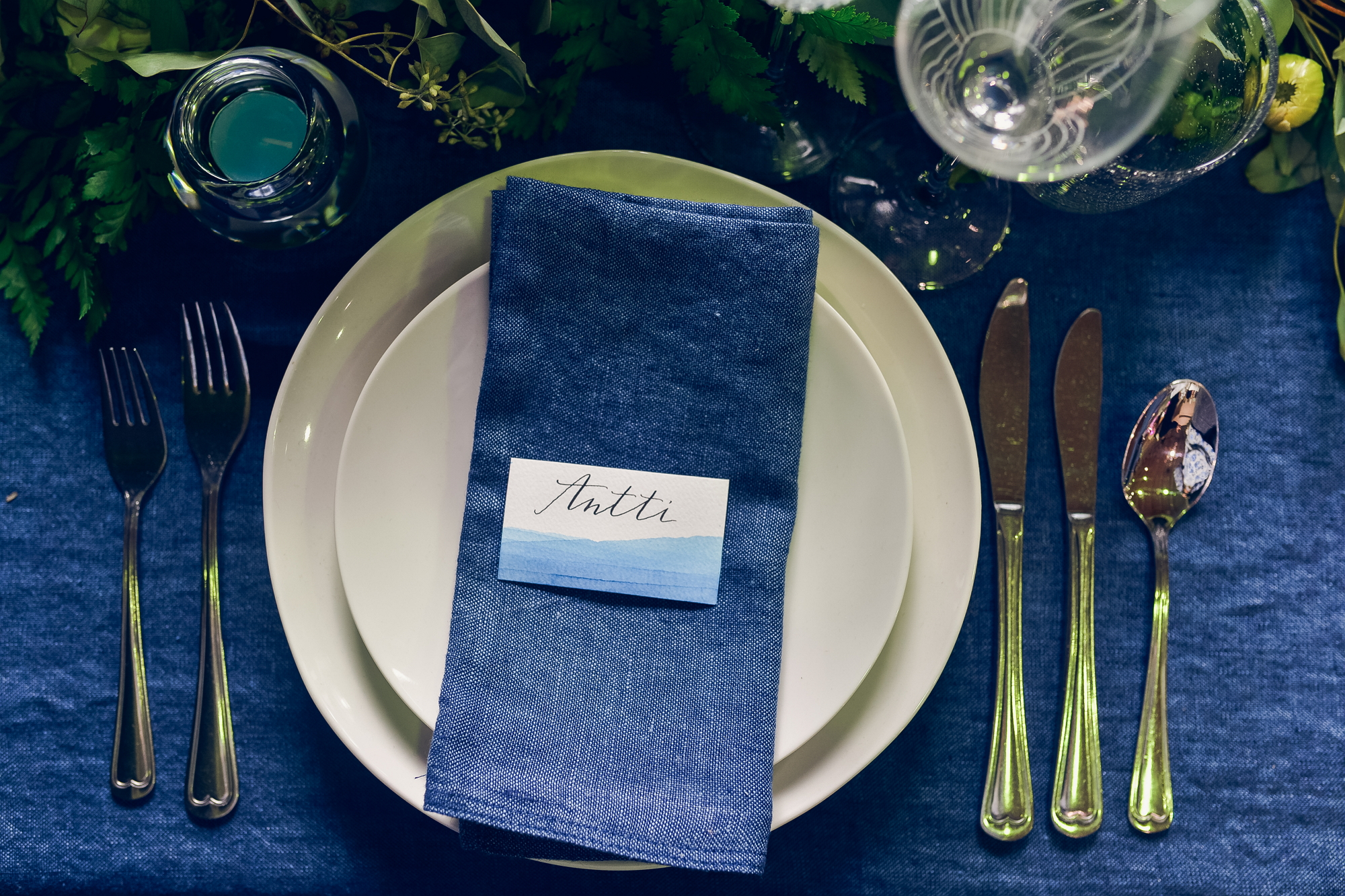 blue abstract watercolor place card. Photo by Alina Shchurova. item