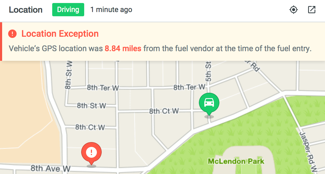 Fuel location exception