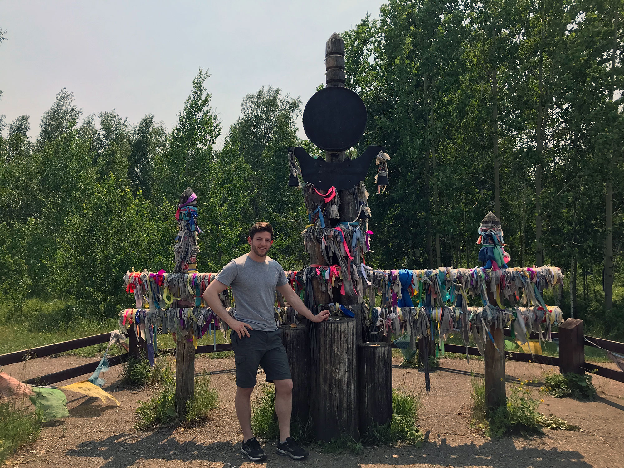 A simple outfit of shorts, t-shirt, and sneakers works anywhere from Moscow to the temple-laden shores of Lake Baikal.