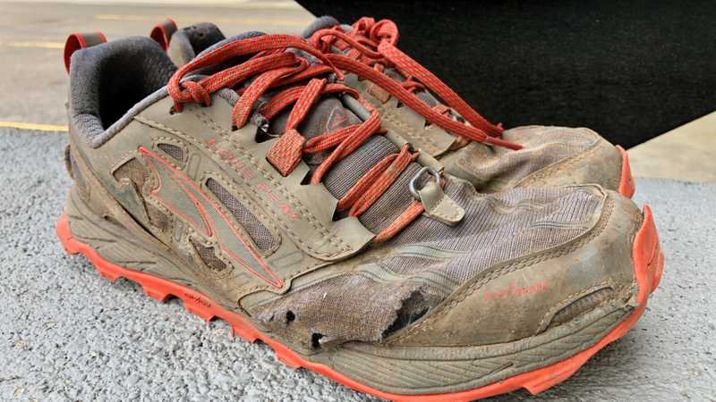 Worn-out Altra Lone Peak 4 shoes