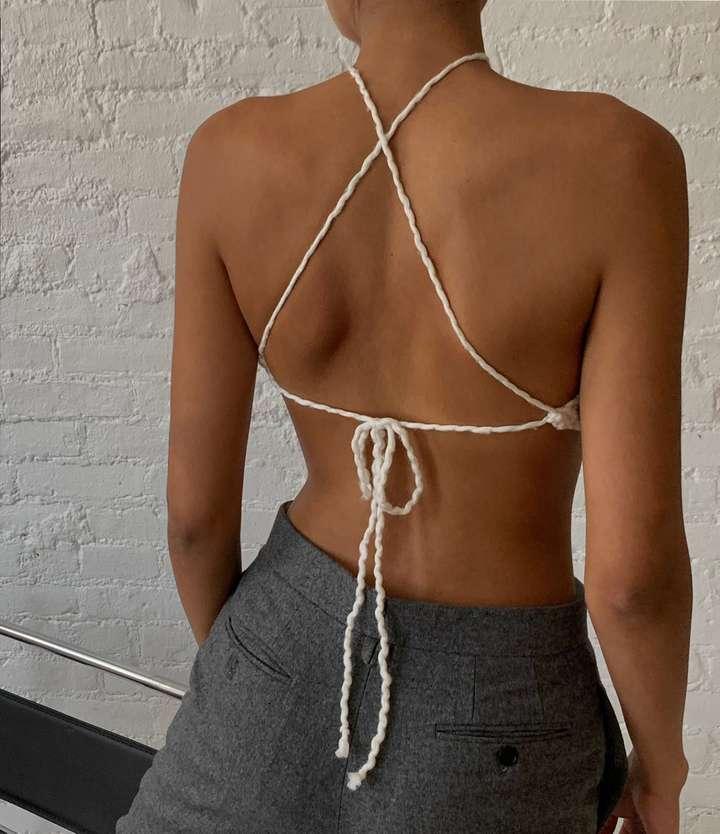 Knitted Halter Neck Top White Back