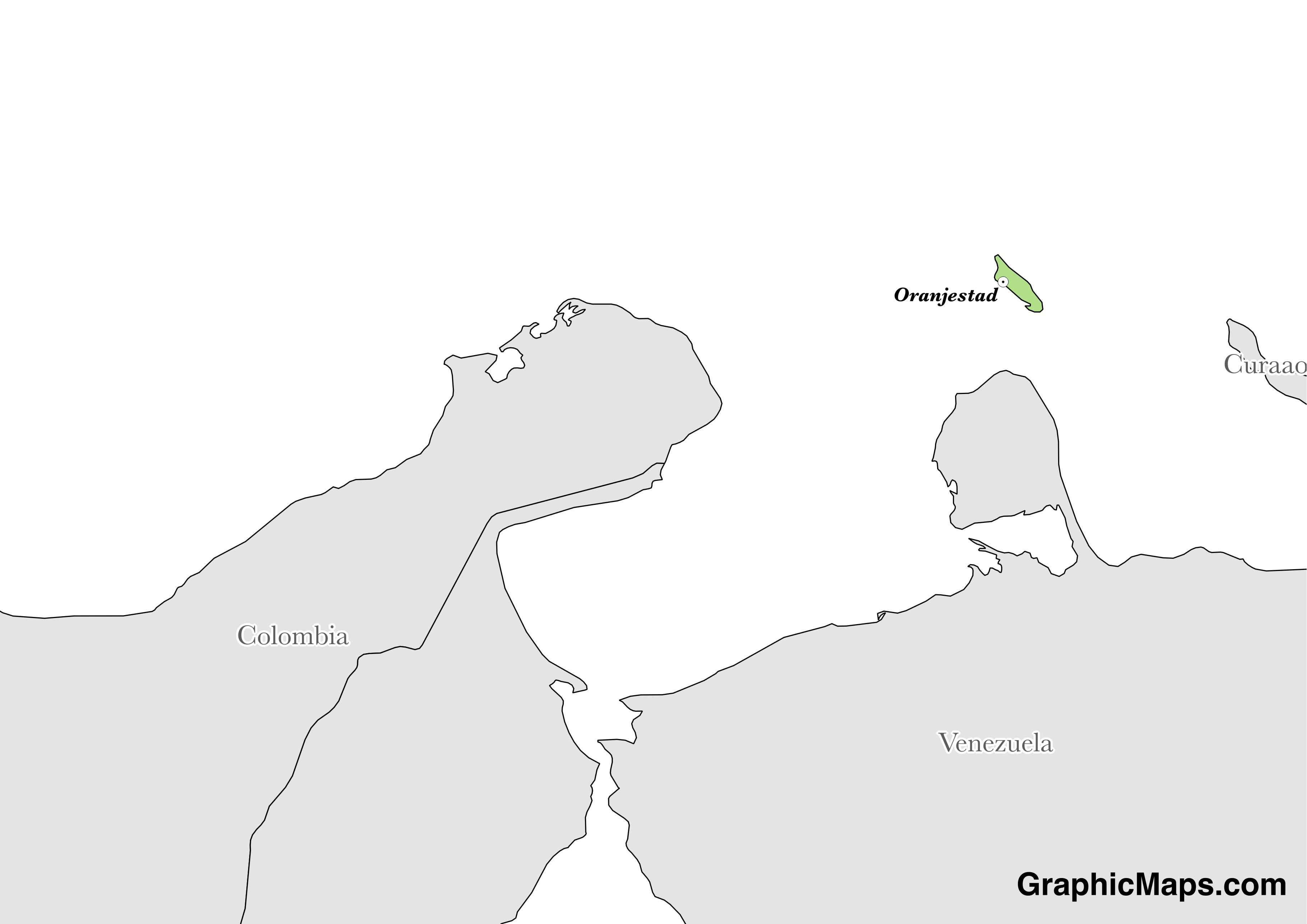 Map showing the location of Aruba