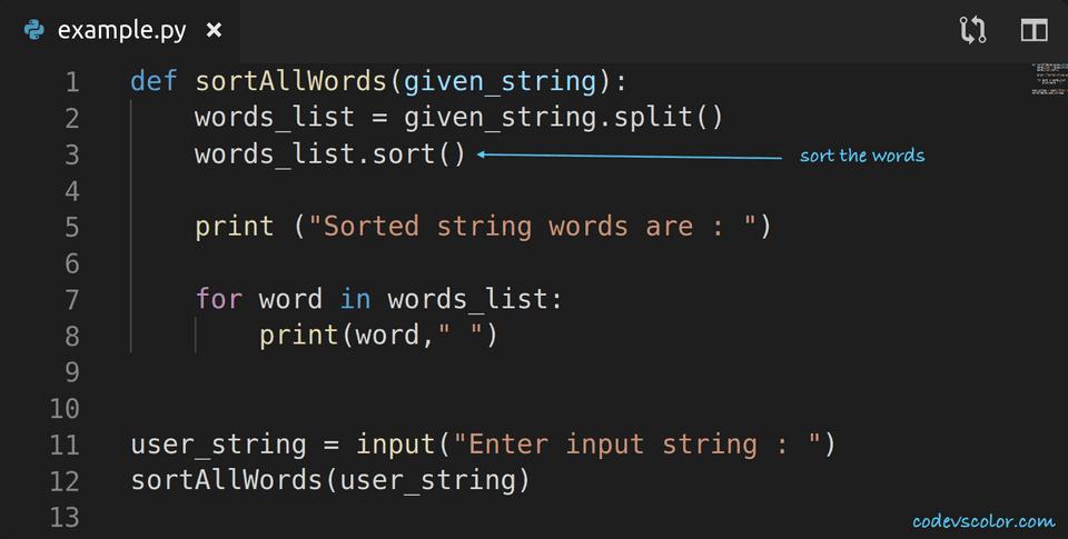 python sort words in a string