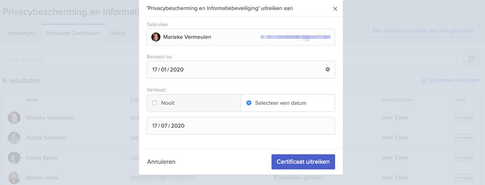 Interface voor uitreiken certificaten