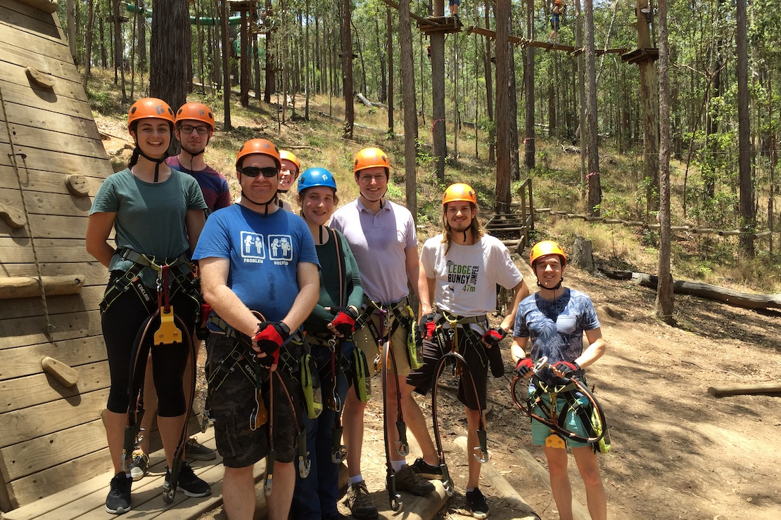 Ropes course (2016): Katie, Adam, David, Samantha, Natasha, Ivan, Stefano, someone's +1