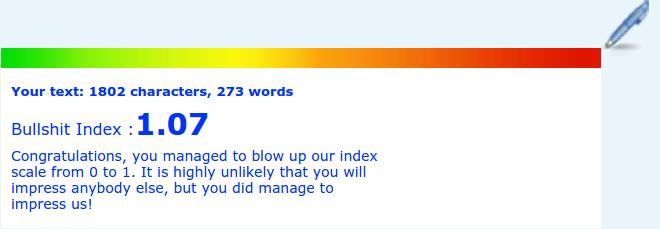 Google job ad's bullshit rank reading from Blablameter.com