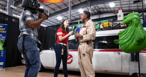 Aerin Carreno interviewing Ernie Hudson for YOLOTX segment