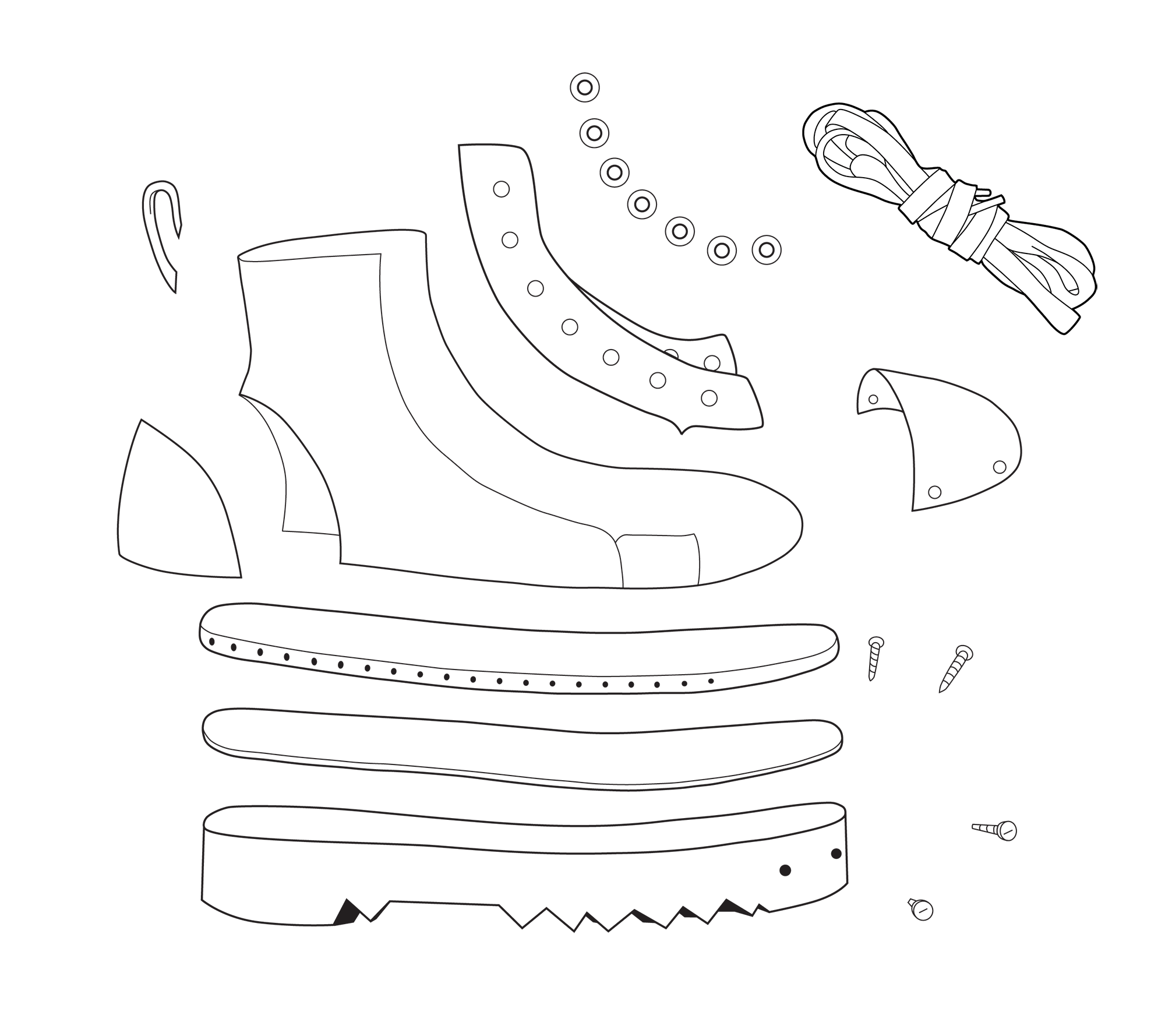 mechanical drawing of deconstructed boot