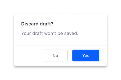 Don't use unclear actions in a modal button