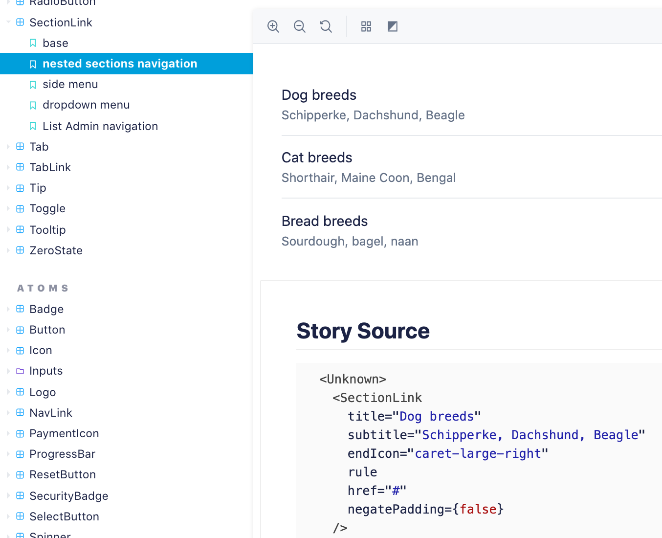 a screenshot of Storybook, featuring the SectionLink component