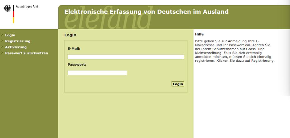 Elefand - Elektronische Erfassung von Deutschen im Ausland