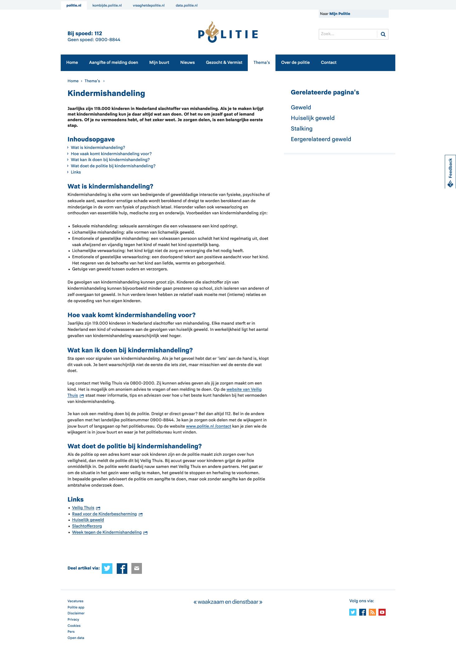 Screenshot van een pagina op Politie.nl over kindermishandeling.