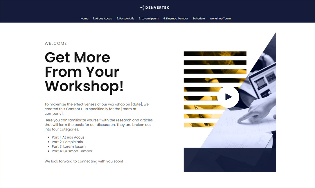 Microsite for on site or virtual workshop