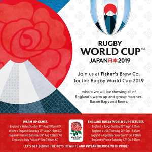 Watch the Rugby World Cup 2019 at Fishers Brew Co. After watching Englands fantastic Cricket World Cup win, we can't wait to see how the rugby boys get on! #weartherose #craftbrewery #craftbeer #rugby