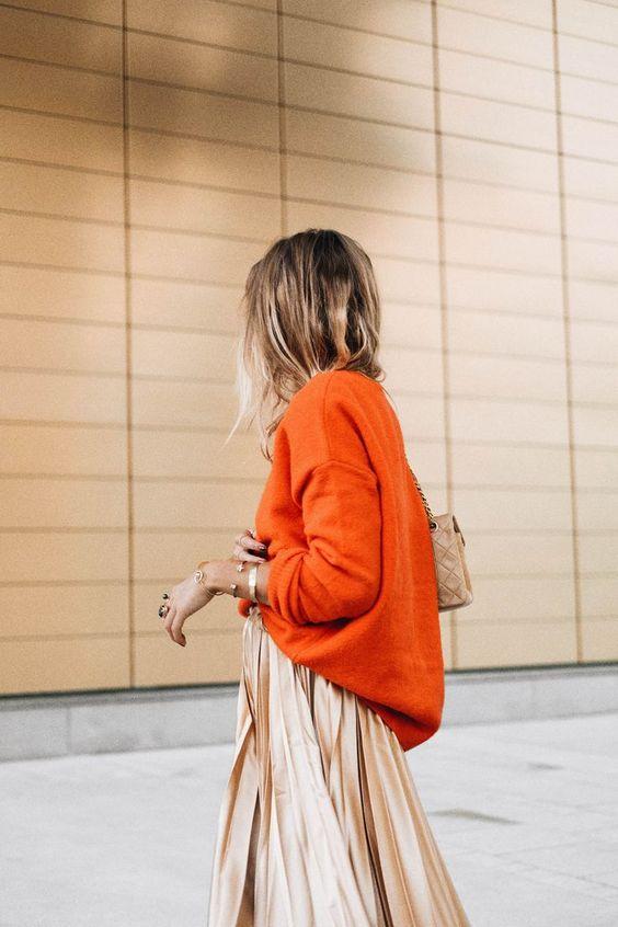 Pull en cachemire orange oversized