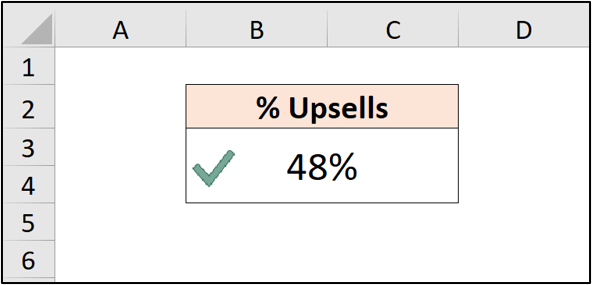 An Excel spreadsheet with a single cell of data with a green tick next to it.