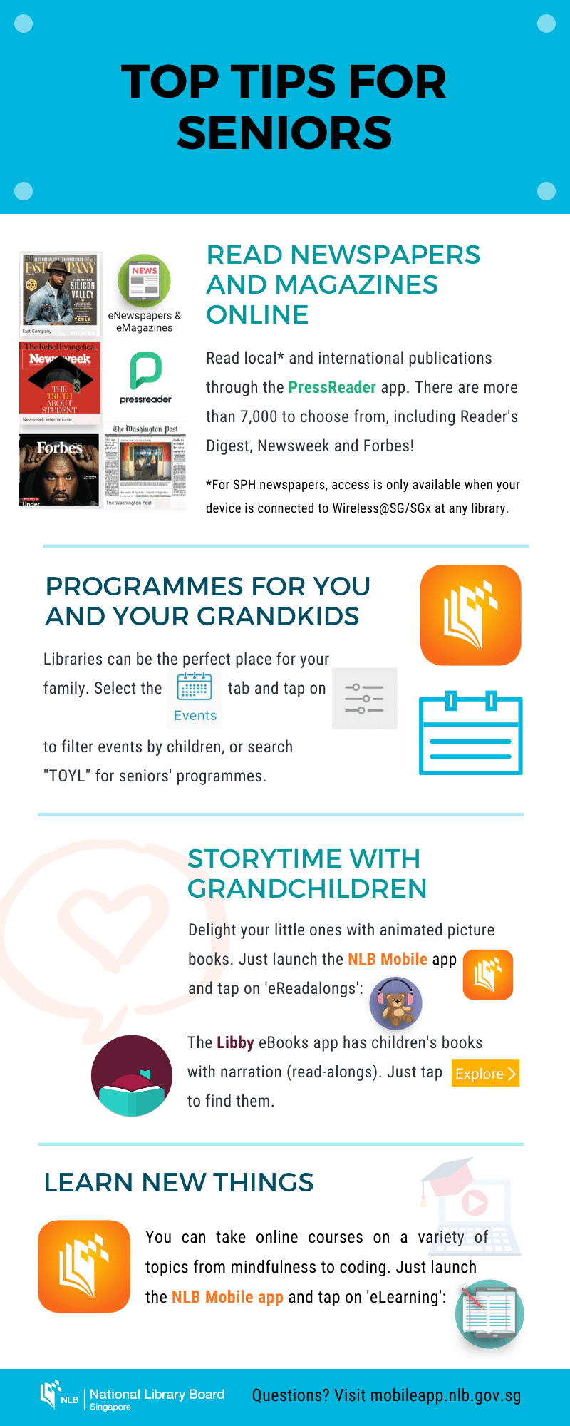 An infographic featuring top tips for seniors on NLB's digital collection, such as accessing eNewspapers and eMagazines, stories for grandchildren, eLearning and so on.