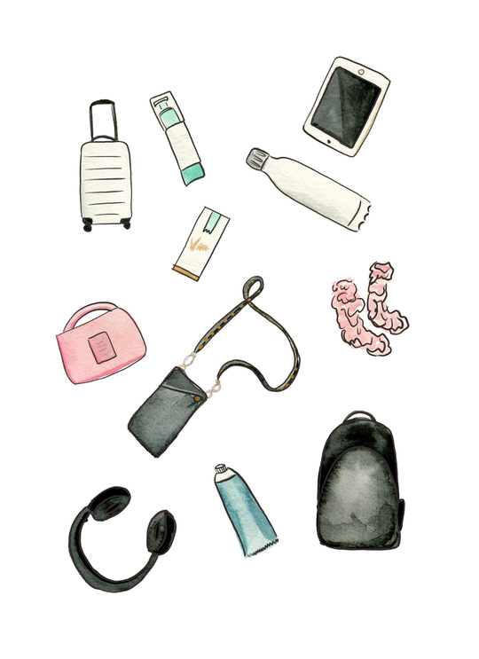 watercolor illustration of travel essentials