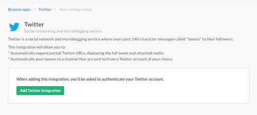 Slack公式サイトでAdd Twitter Integrationをクリックしているところ