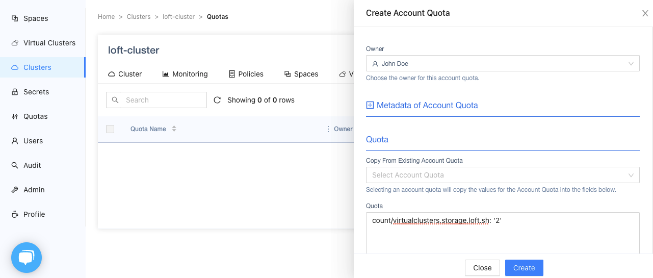 Create a vcluster Quota
